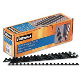 "Fellowes®  Plastic Combs - Round Back, 1/4"", 20 Sheets, Black, 100/Pk"