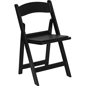 Folding Chair with Vinyl Seat - Resin - Black - Pkg Qty 4