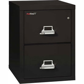 "Fireking Fireproof 2 Drawer Vertical File Cabinet - Letter Size 17-11/16""W x 25""D x 28""H - Black"