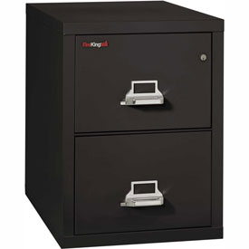 "Fireking Fireproof 2 Drawer Vertical File Cabinet - Letter Size 18""W x 31-1/2""D x 28""H - Black"