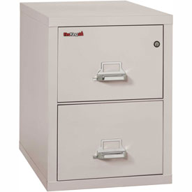 "Fireking Fireproof 2 Drawer Vertical File Cabinet - Letter Size 18""W x 31-1/2""D x 28""H - Light Gray"