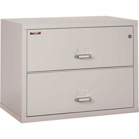 """Fireking Fireproof 2 Drawer Lateral File Cabinet Letter-Legal Size 37-1/2""""W x 22""""D x 28""""H - Lt Gray"""