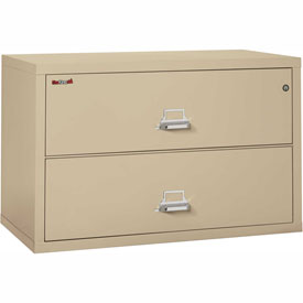 """Fireking Fireproof 2 Drawer Lateral File Cabinet - Letter-Legal Size 44-1/2""""W x 22""""D x 28""""H - Putty"""