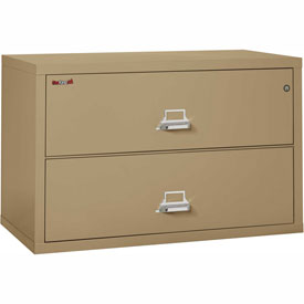 """Fireking Fireproof 2 Drawer Lateral File Cabinet - Letter-Legal Size 44-1/2""""W x 22""""D x 28""""H - Sand"""