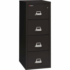 "Fireking Fireproof 4 Drawer Vertical File Cabinet - Letter Size 18""W x 25""D x 53""H - Black"