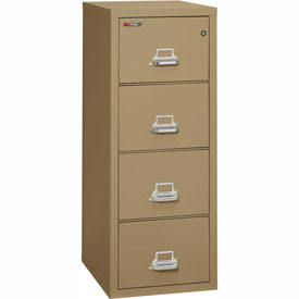 "Fireking Fireproof 4 Drawer Vertical File Cabinet - Legal Size 21""W x 25""D x 53""H - Sand"