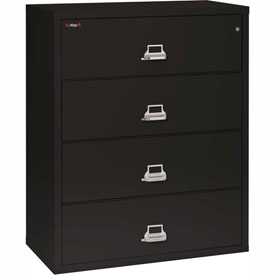 "Fireking Fireproof 4 Drawer Lateral File Cabinet - Letter-Legal Size 44-1/2""W x 22""D x 53""H - Black"
