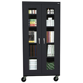 Sandusky Mobile Clear View Storage Cabinet TA4V362472 - 36x24x78, Black