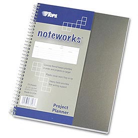 Noteworks® Project Planner with Poly Cover, 8-1/2 x 6-3/4, Metallic Gold