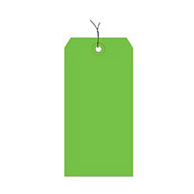 "#8 Light Green Wired Tag Pack 6-1/4"" x 3-1/8"" - 1000 Pack"