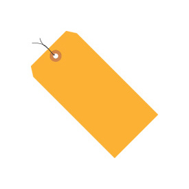"#4 Orange Fluorescent Wired Tag Pack 4-1/4"" x 2-1/8"" - 1000 Pack"