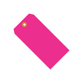 "#5 Pink Fluorescent Tag Pack 4-3/4"" x 2-3/8"" - 1000 Pack"