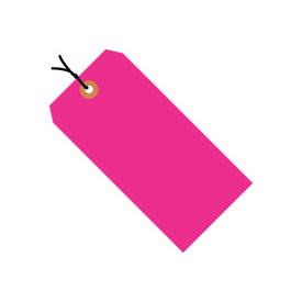 "#4 Pink Fluorescent Wired Tag Pack 4-1/4"" x 2-1/8"" - 1000 Pack"