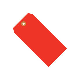 "#5 Red Fluorescent Tag Pack 4-3/4"" x 2-3/8"" - 1000 Pack"
