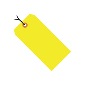 "#3 Yellow Fluorescent Strung Tag Pack 3-3/4"" x 1-7/8"" - 1000 Pack"