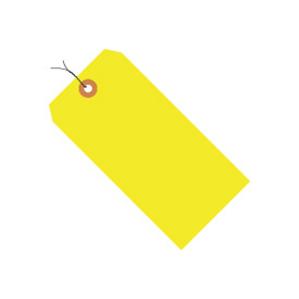 "#5 Yellow Fluorescent Wired Tag Pack 4-3/4"" x 2-3/8"" - 1000 Pack"