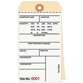 Inventory Tag 3 Part Carbonless 0 - 499 - 500 Pack