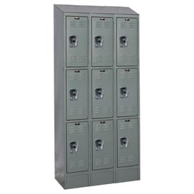 Hallowell URB3258-3ASB-HG Ready-Built II Locker Triple Tier 3 Wide - 12x15x27-5/8 Gray
