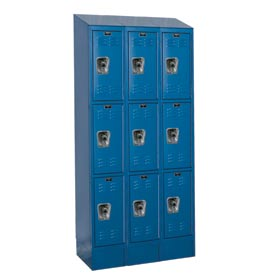 Hallowell URB3258-3ASB-MB Ready-Built II Locker Triple Tier 3 Wide - 12x15x27-5/8 Blue