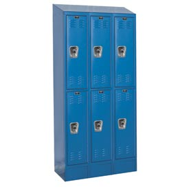 Hallowell URB3288-2ASB-MB Ready-Built II Locker Double Tier 3 Wide - 12x18x84 Blue