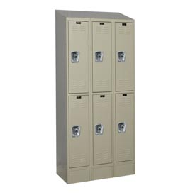 Hallowell URB3288-2ASB-PT Ready-Built II Locker Double Tier 3 Wide - 12x18x84 Parchment