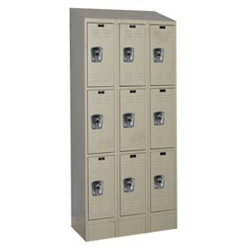 Hallowell URB3288-3ASB-PT Ready-Built II Locker Triple Tier 3 Wide - 12x18x28 Parchment