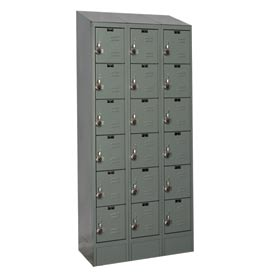Hallowell URB3288-6ASB-HG Ready-Built II Locker Six Tier 3 Wide - 12x18x14 Gray