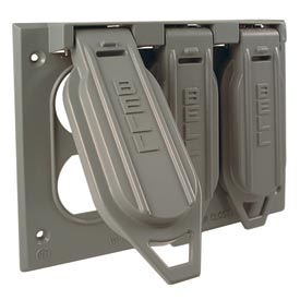 Hubbell 5097-0 Three Gang Weatherproof Box Mount Cover (3) Duplex