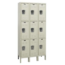 Hallowell U3228-3G-PT Knock-Down Corrosion Resistant Locker Triple Tier 3 Wide - 12x12x26