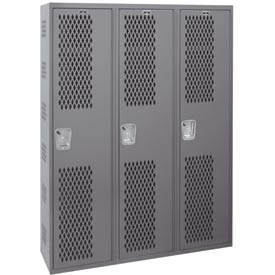 Hallowell HWBA882-111HG Welded Single-Point Ventilated Locker Single Tier 3 Wide - 18x18x72