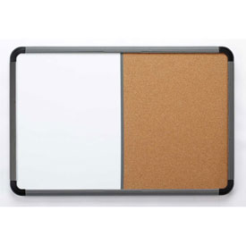 """Iceberg Combo Dry Erase/Cork Board with Blow Mold Frame, 36""""W x 24""""H - Charcoal"""