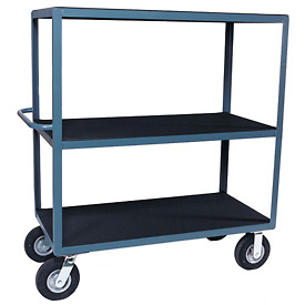 "Vinyl Matted Three Shelf Cart w/ 5"" Poly Casters - 30 x 60"
