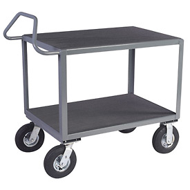 "Vinyl Matted Ergo Handle Cart w/ 8"" Semi-Pneumatic Casters - 18 x 36"