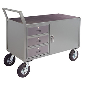 "Low Profile Cabinet Cart w/ 8"" Pneumatic Casters - 24 x 48"