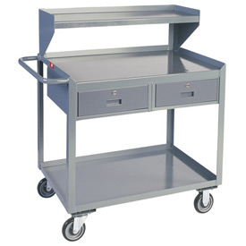 Two Drawer Mobile Service Bench with Riser - 30 x 48