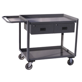 Two Drawer Mobile Service Bench with Tool Shelf - 30 x 48