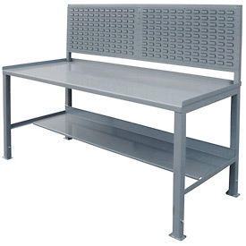 12 Gauge Steel Square Edge Workbench w/ Louvered Panel - 36 x 72