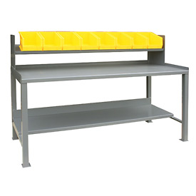 12 Gauge Steel Square Edge Workbench w/ Sloped Riser and Bins - 36 x 72