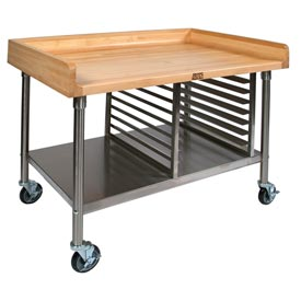"John Boos BAK05 60""W x 36"" Maple Top Mobile Prep Table with Stainless Steel Legs, Shelf and Pan Rack"