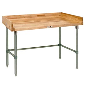 "John Boos DNB02  60""W x 24""D Maple Top Table with Galvanized Legs and Bracing"
