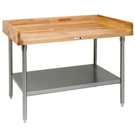 "John Boos DNS09  72""W x 30""D Maple Top Table with Galvanized Legs and Shelf"