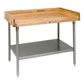 "John Boos DSS08  72""W x 30""D Maple Top Table with Stainless Steel Legs and Shelf"