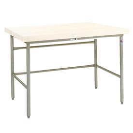 Bakers Production Table - Stainless Steel Frame with Bin Stops 72X30