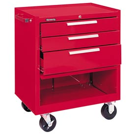 "Kennedy® 273R 27"" 3-Drawer Roller Cabinet w/ Friction Slides - Red"