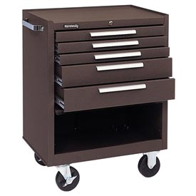 "Kennedy® 275B 27"" 5-Drawer Roller Cabinet w/ Friction Slides - Brown"