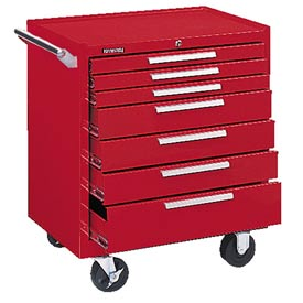 "Kennedy® 297R 29"" 7-Drawer Roller Cabinet w/ Friction Slides - Red"