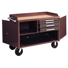 """Kennedy® 4804B 48"""" 4-Drawer Industrial Mobile Bench - Brown"""