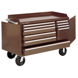 "Kennedy® 4810B 48"" 10-Drawer Industrial Mobile Bench - Brown"