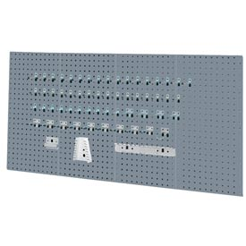 Kennedy Manufacturing, 50004UGY, 4-Panel Sq. Hole Toolbaord Set w/60-Pc Toolholder Set - Gray