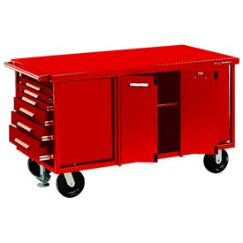 "Kennedy® 6012ER 60"" 12-Drawer Industrial Mobile Bench w/Side Shelves - Red"